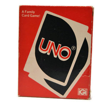 1979 Vintage UNO Family Playing Cards International Games Complete Unused Deck Wild Cards UNO Game Family Fun 70s Game Card