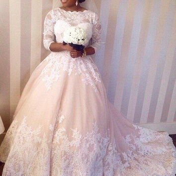 Vestidos De Novia Lace Wedding Dresses Plus Size Half Sleeves Ball Gown Appliques Fall/Winter Garden Church Bridal Dress 2015