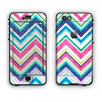 The Vibrant Pink & Blue Layered Chevron Pattern Apple iPhone 6 Plus LifeProof Nuud Case Skin Set