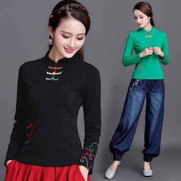 new fashion women 100% pure cotton long sleeve lady girls Chinese Style Embroidery Mandarin Collar t-shirt female pullover shirt