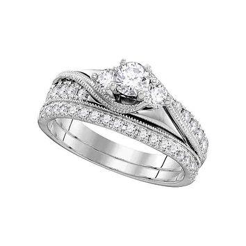 14kt White Gold Women's Round Diamond 3-Stone Bridal Wedding Engagement Ring Band Set 7/8 Cttw - FREE Shipping (US/CAN)
