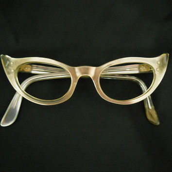 50s Cateye Glasses - 1950s Cat Eyes - Lucite Thermoset Eyeglass Frames