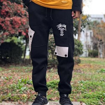Stussy Fashionable Women Men Classic Embroidery Sport Pants Trousers Sweatpants Black