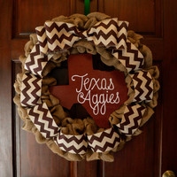 Texas Aggies Burlap Wreath