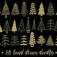 Glitter Christmas Tree Clipart. Gold Christmas Illustrations. Hand Drawn Winter Images. Sparkly Gold Christmas Doodles for Gift Tags, Cards.