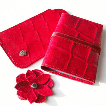 Gift Set 2pcs: Red Leather Credit Card Holder and Iphone 5 Sleeve