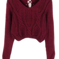 PrettyGuide Women Eyelet Cable Knit Lace Up Crop Long Sleeve Sweater Crop Tops Burgundy