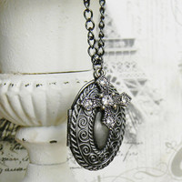 Antique Silver Locket, Silver Locket, Cross Necklace, Solid Perfume Locket