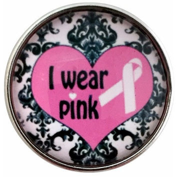 Pink Ribbon- I Wear Pink Damask Snap 20mm for Snap Jewelry