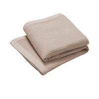 Pure Natural Cotton Waffle Blanket Linen Colour Queen/King by Logan & Mason