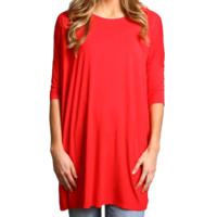 Red Piko Half Sleeve Tunic