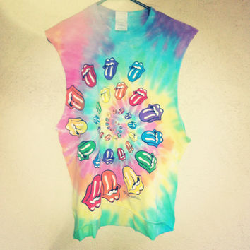 Rolling Stones Tie Dyed Festival Crop Top