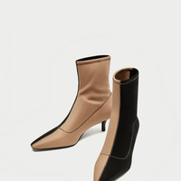 TWO-TONE HIGH HEEL ANKLE BOOTS DETAILS