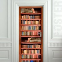 "Wall Door STICKER books shelfs bookcase library , mural, decole, film 30x79"" (77x200 Cm)"