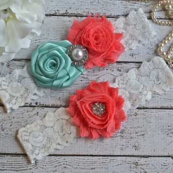 Tiffany Blue Coral  Wedding Bridal Garter Set Keepsake Toss Garder