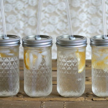 Four 12 Ounce Mason Jar Tumblers - Quilted Tumblers