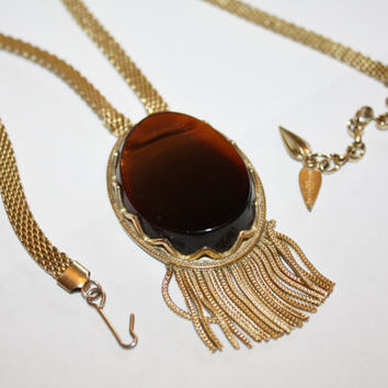 Vintage Whiting Davis Necklace Mesh Tassel Pendant 1960s Jewelry