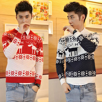 Fahion Winter Warm Wool Knitted Mens Ugly Christmas Deer Sweater Crewneck Long Sleeve Reindeer Pullover Knitwear M-XXL