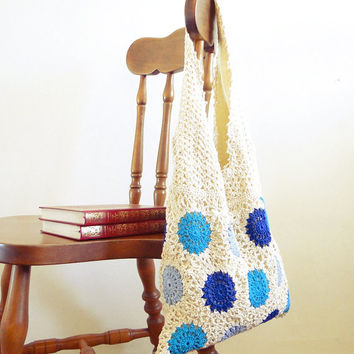 Vintage inspiration design lace crochet hobo bag summer, beach, boho, tribal