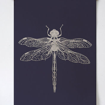 Dragonfly Print - PRINTABLE FILE. Insect Art Poster. Winged Insect Art. Dorm Room Wall Art. Bohemian Print. Muted Purple Art.