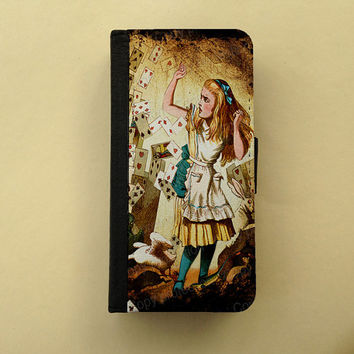 Alice in Wonderland - cute iPhone wallet case, iPhone 4/5, Samsung Galaxy S3 / S4, iPhone wallet, book style, iPhone flip case, bi-fold