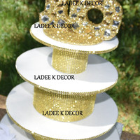 Bling 4 Tier Cupcake Stand With Bling 16 number sign Topper for Sweet 16 Birthday