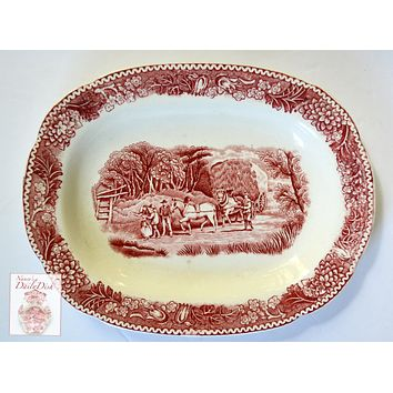 Red Transferware Tray Platter Harvest Hay Wagon & Horse Scene Adams English Countryside
