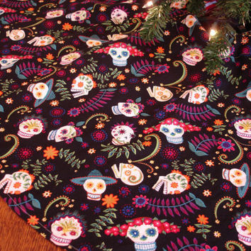 Sugar Skulls Christmas Tree Skirt Day of the by KaysGeneralStore