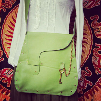 Steampunk green fauxleather bag-steampunk style green Leather Bag