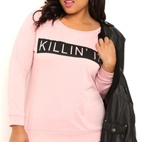 Plus Size Long Sleeve French Terry Top with Killin It Screen