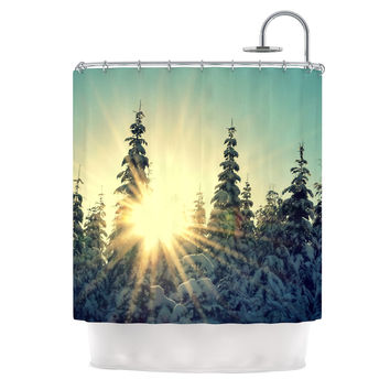 "Robin Dickinson ""Shine Bright"" Snowy Trees Shower Curtain"