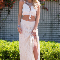 DREAM OF THE PERFECT Lace Maxi Skirt- IVORY