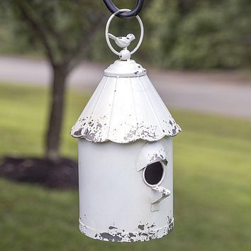 White Distressed Country Style Yard Garden Hanging cottage Birdhouse Outdoor