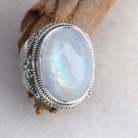 moonstone ring, moon stone silver ring, stone ring, silver ring, silver rainbow ring, 92.5 sterling silver,moon stone Silver Ring, RNSLMN214