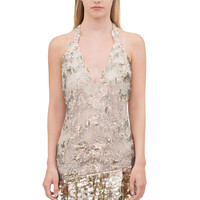 SHORT DRESS IN EMBROIDERED TULLE WITH SEQUINS - Short Dresses - Ready to wear - Woman | Roberto Cavalli United States