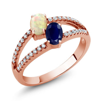 1.28 Ct Cabochon White Ethiopian Opal Sapphire 18K Rose Gold Plated Silver Ring