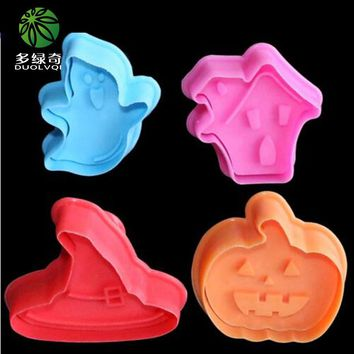 Fondant Gift Decorating Sugarcraft Tool Biscuit Cookie Cutter House Ghost Pumpkin Hat Spring Pressing Mould Bakeware