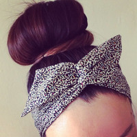 Small Floral Print Dolly Bow Headband