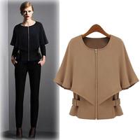 Cape Zipper Front Long-Sleeve Shirt