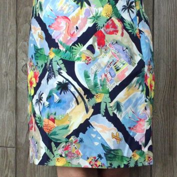Cute New Talbots Skirt 16 Petite 16P XLP Size Pink Flamingos Travel Womens Lined