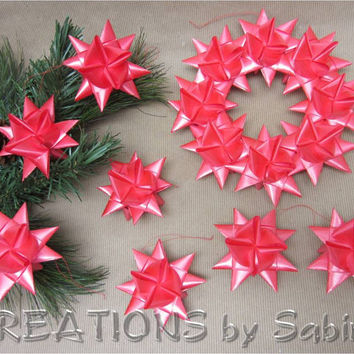 German Ribbon Star Christmas Wreath & Ornament Set / Red Hanging Stars Froebel Moravian Advent Danish Swedish Gift Idea / READY TO SHIP (27)
