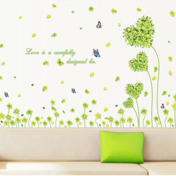 New Love five-leaf grass wall stickers Decoration Removable Personalized stickers Home Decor