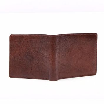 New Genuine Leather Mens Small Biflod Wallets with Card Holder