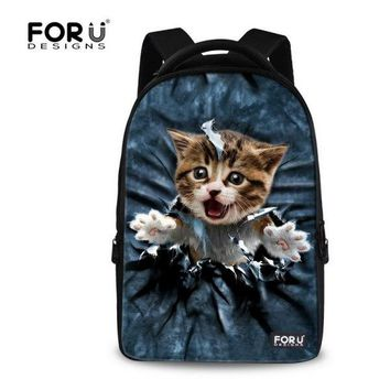 University College Backpack Unique Teenager Girls  Kawaii 3D Animal Cat Printing  for Children Large  Student Laptop AT_63_4