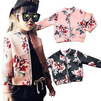 Kids Baby Girl Zipper Jacket Floral Coat Child Baseball Coat Wind Jacket Outwear