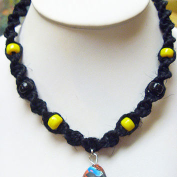 Handmade Black and Yellow  Hemp Necklace with Fimo Glass Mushroom Pendant Steelers