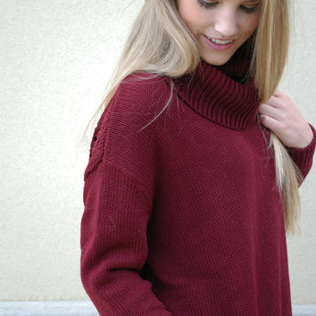Central Park West - Cowl Neck Sweater - Burgundy