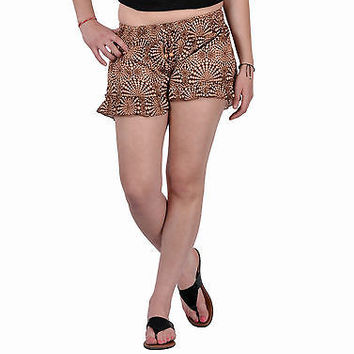 Women Girls Brown Shorts Online Sleepwear Flower Printed BeachWear Cloth Cotton