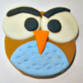 Angry Owl Fondant Cupcake Toppers. Set of 12 (one dozen)