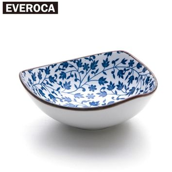Creative tapered four-color blue and white porcelain bowl Japanese tableware ceramic rice bowl